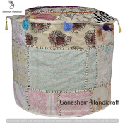 Room Decorative Ottoman Handmade Pouffe Cover, Designer Ottoman Cover Embellished With PatchWork And Hand Embroidery Work, Indian Vintage Ottoman, Seating Pouffe, Indian Comfortable Floor Cushion