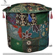 Indian Patchwork Pouffe Cover Indian Living Room Home Decor Pouffe, Decorative Ottoman, Hand Embroidered Designer Ottoman, Home Living Footstool Chair Cover, Bohemian Pouffe Ottoman