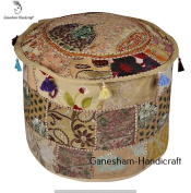 Indian Embroidered Patchwork Ottoman Cover,Traditional Indian Decorative Pouffe Ottoman,Indian Comfortable Floor Cotton Cushion Ottoman Pouffe,Indian Home Decorative Handmade Vintage Pouffe Ottoman