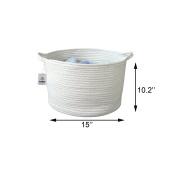 ICEBLUE Natural cotton Woven Rope Nursery Decor Toys Organiser Storage Basket( White)