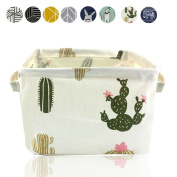 Small Foldable Storage Basket Canvas Fabric Waterproof Organiser Collapsible and Convenient For Nursery Babies Room 100% COTOON with Handle