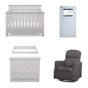 Serta Fall River 5-Piece Nursery Furniture Set (Serta Convertible Crib, 4-Drawer Dresser, Changing Top, Serta Crib Mattress, Glider), Bianca White