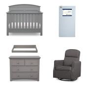 Serta Ashland 5-Piece Nursery Furniture Set (Serta Convertible Crib, 4-Drawer Dresser, Changing Top, Serta Crib Mattress, Glider), Grey