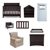 Serta Fall River 7-Piece Nursery Furniture Set (Convertible Crib, Toddler Rail, 4-Drawer Dresser, Changing Top, Bookcase, Crib Mattress, Glider), Dark Chocolate