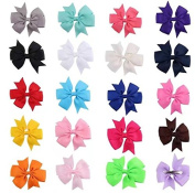 10pc Solid Colour Boutique Windmill Style Hair Bows Girls Baby Alligator Clip Grosgrain Ribbon Headbands