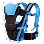 KINDOYO 4 Positions Newborn Infant Baby Carrier Breathable Ergonomic Adjustable Wrap Sling Backpack, Blue