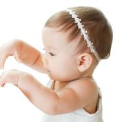 Kanpola Infant Girls Princess Lace Flowers Diamond Pearl Headbands Elastic Hairbands