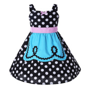 Girls Harness Polka Dot Dress - Baby Summer Black Retro Vintage Dresses for Toddlers Kids 2-7 years Old - by Juleya / 3-4 Years