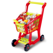 Shopping Cart for Kids, Seprovider Supermarket Cart Simulation Shopping Trolley Toy with 27 Pieces of Fruits, Vegetables, Food, Pretend Play Toy Grocery Cart Yellow/Red