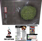 "Heroclix Marvel 15th Anniversary What If. Complete Op Kit The Captain #100 LE Figure & ""Avengers Unity Rooftop"" double sided map"