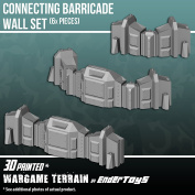 Connecting Barricade Wall Set, Terrain Scenery for Tabletop 28mm Miniatures Wargame, 3D Printed and Paintable, EnderToys