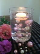 50 Light Pink/White Vase Filler Pearls For Floating Pearl Centrepiece, Jumbo & Mix Size Pearls