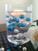 Vase Filler Pearls For Floating Pearl Centrepiece, 50 Teal Blue/White Pearls, Jumbo & Mix Size Pearls