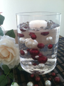 Vase Filler Pearls For Floating Pearl Centrepiece, 50 Burgundy/White Pearls, Jumbo & Mix Size Pearls
