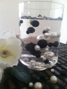 Vase Filler Pearls For Floating Pearl Centrepiece, 50 Black/White Pearls, Jumbo & Mix Size Pearls