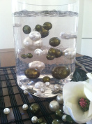 Vase Filler Pearls For Floating Pearl Centrepiece, 50 Sage Green/Ivory Pearls, Jumbo & Mix Size Pearls