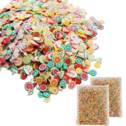 1000 Pieces Fruit Pattern Slices + 2 Pack Styrofoam Balls for Slime Making Nail Art Decoration Arts Crafts Supplies