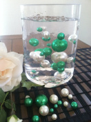 Vase Filler Pearls For Floating Pearl Centrepiece, 50 Shamrock Green/White Pearls, Jumbo & Mix Size No Hole Pearls