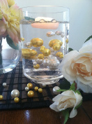 Vase Filler Pearls For Floating Pearl Centrepiece, 50 Gold/Ivory Pearls, Jumbo & Mix Size No Hole Pearls