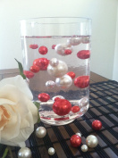 50 Red/White Vase Filler Pearls Jumbo & Mix Size No Hole Pearls For Floating Pearl Centrepieces,