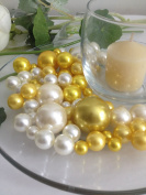 Bowl & Vase Filler Pearls Gold & Ivory Pearls - No Hole Pearls, 80 jumbo & mix size pearls