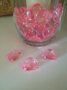 48 Acrylic Pink Hearts 23mm for Wedding Decoration Table Scatters, Vase Fillers, Valentine Decor