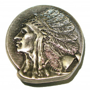 "Indian Head Concho Left Facing 1.25"" (32mm) Antique Silver Splashback"