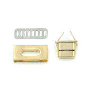 5 Sets Turn Button Latch Closure for Catch Tuck Leather Bag Case hangbag Purse 17X35mm Light-Gold