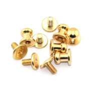 LQ Industrial 30 Pack Gold Round Phillips Head Button Stud Screws 6x8x8mm Chicago Screws Nail Rivet For DIY Leather Craft