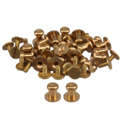 20pcs Head Button Brass Studs Screwback Screw Nail 9x6.5x9mm For Leather Craft Belt Purse Handbag DIY