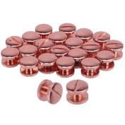20pcs Rose Red Solid Brass Studs Screwback Round Head Screw Post Fastener Nail Rivet Leather Belt Arc Button Repair DIY