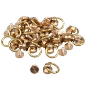 20pcs Gold Colour Solid Brass Round Head Button O-ring Studs Screwback Screws Nail For Belt Wallet Buckle