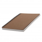 Refaxi Handmade Hard Back Spiral Bound Coil Sketch Book Plain Blank Brown Kraft Hardcover Sketch Book, 50 Unlined White Cream Paper Page Lay Flat Binding