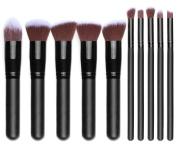Makeup Brushes, Kabuki Makeup Brush Set Eye Concealer Blending Cosmetics Brushes 10pcs, Black