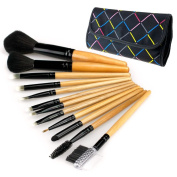 Cosmetic Make Up Brush 12pcs x 1 kit with bowknot decorated black case