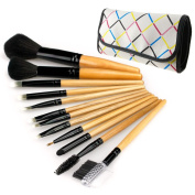 12pcs professional Cosmetic Make Up Brush with bowknot decorated white case