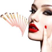 Botrong Makeup Brush Set,10PCS Foundation Powder Eyeshadow Wooden Cosmetic Brushes Pink