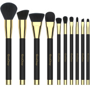 EmaxDesign 10 Pieces Makeup Brush Set Professional Foundation Blending Contour Eyeshadow Brow Blush Lip Eye Face Liquid Powder Cream Cosmetics Makeup Brushes tool Kit