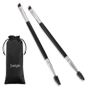 Pack of 2 Double Ended Brow Brush - Duo Eyebrow Brush - Quality Angled Eye Brow Brush and Spoolie Brush