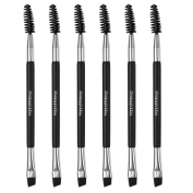 CCbeauty 6-Packs Double Ended Spoolie and Angled Eyebrow Brushes Set Makup Eyebrow Kit and Eyebrow Comb for Application of Brow Powders Waxes Gels and Blends