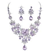 Sinwo Women Dazzling Prom Wedding Bridal Jewellery Crystal Rhinestone Necklace Earring Sets Party Jewellery
