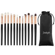 JewelryWe 12pcs Eye Brush Set, Cosmetics Eyeliner Eyeshadow Blending Brushes