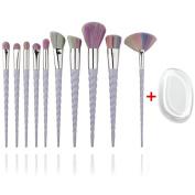 Unicorn Makeup Brush Set with Silicone Makeup Sponge Face Foundation Powder Blender Eyeshadow Cosmetic Brushes Beauty Tools Kits