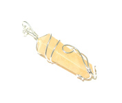 On . ! Yellow Aventurine Crystal Wire Wrapped Point Pendant Reiki Healing