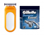 Compatible Razor fits with Sensor Excel for Women Refill Cartridges + Sensor Excel 10 Ct. + FREE Luxury Luffa Loofah Bath Sponge On A Rope, Colour May Vary