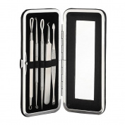 Pawaca Blackhead Remover Kit, Professional Pimple Blemish Splinter Comedone Extractor Tools, Esthetician Treatment Kit for Acne Whitehead Zit Removing with Mirror and Exquisite Box
