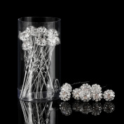 Pangda Rhinestone Hair Pins Crystal Flower U Shape Pins Diamante Twists Wedding Bridal Hair Clips Accessories, 20 Packs