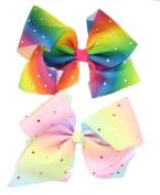 2pcs 18cm Girls Multi Coloured Diamante Big Fashion Hair Bow Dance School Accessory