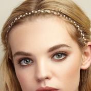 QueenMee Flower Headband Crystal Hair Band Silver Head Band Bridesmaid Hair Accessory Diamante Wedding Hairband Wedding Headband Rhinestone Hair Jewellery Silver Hair Jewellery Flower Alice Band Gold Headband Head Chain Headchain