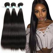 Fairgreat® 7A Brazilian Virgin Straight Hair 3 Bundles Unprocessed Human Hair Extension 100g/Bundle Human Hair Natural Black/#1B, Highest Quality At The Lowest Price